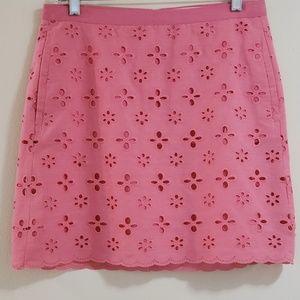 LOFT Pink Eyelet A-line Mini Skirt, Sz 4